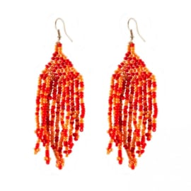 A story 2 tell - oorhangers - coral red & orange