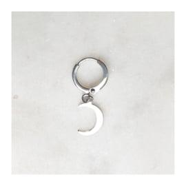 By Nouck - Earring Silver Moon - oorsteker/hanger silverplated - per stuk
