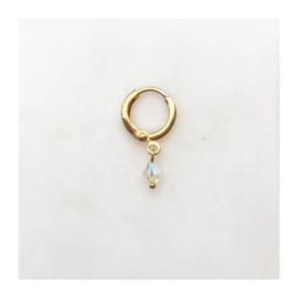 By Nouck - Earring Diamond Shape Creme - oorsteker/hanger goldplated - per stuk