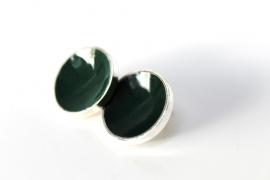 Crazyclage - oorstekers groen groot - zilveren oorbellen met kroonkurk