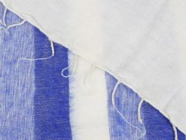 Sjaal met Verhaal - groot - streep - 80 - crème blauw