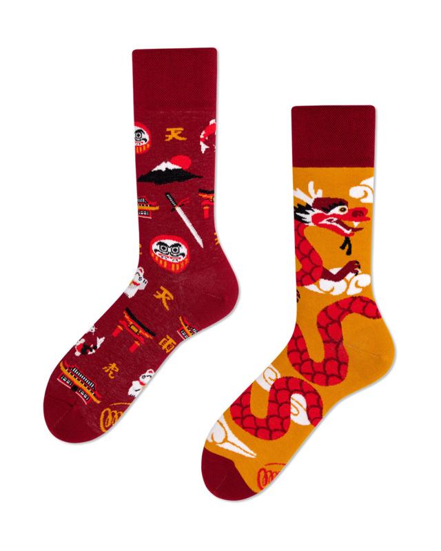 Many Mornings - sokken unisex - mismatched Asian Dragon