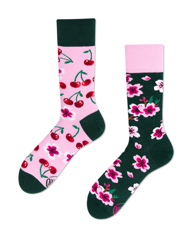 Many Mornings - sokken unisex - mismatched Cherry Blossom
