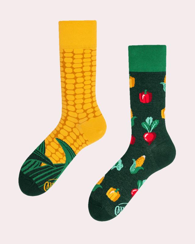 Many Mornings - sokken unisex - mismatched Veggie Mix