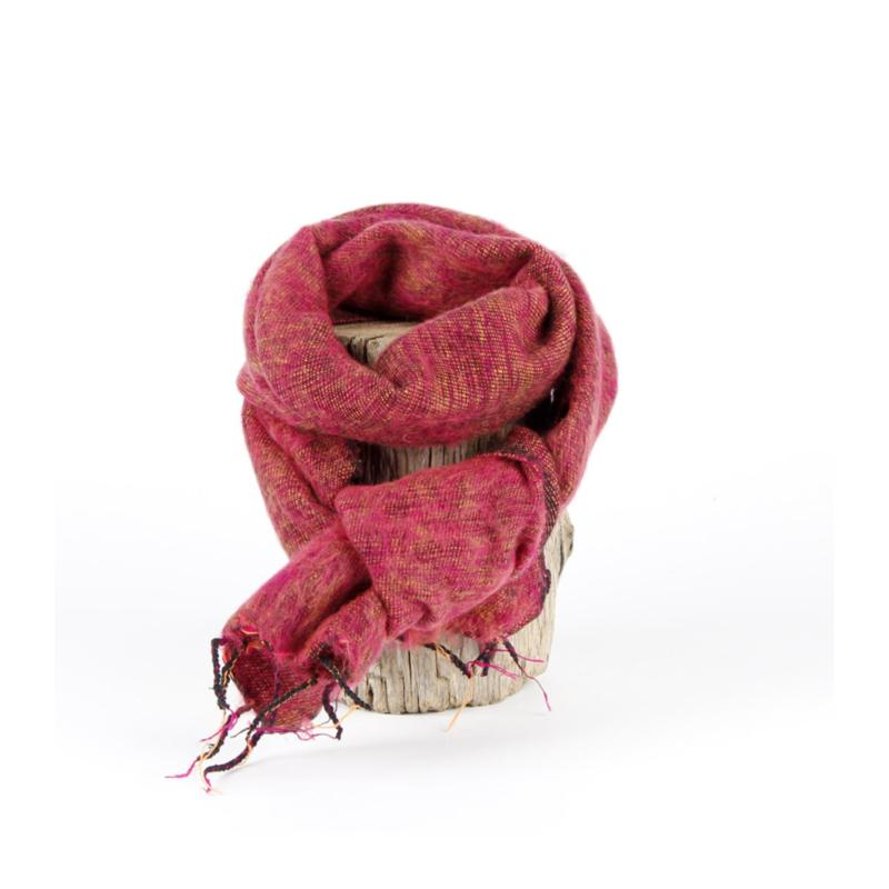 Sjaal met Verhaal - klein -  129 - roze geel zwart