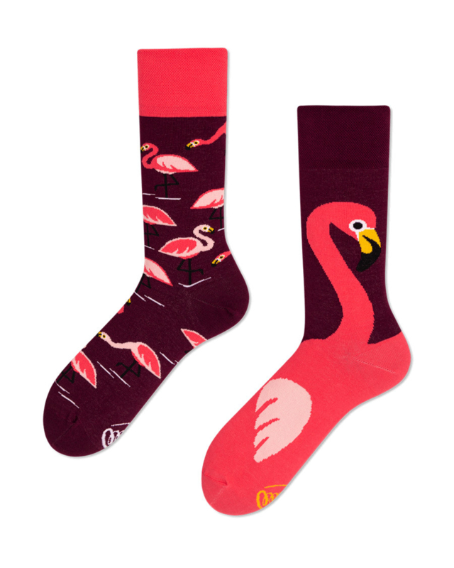 Many Mornings - sokken unisex - mismatched Pink Flamingo