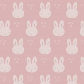 Stofkeuze konijntje oud roze/wit