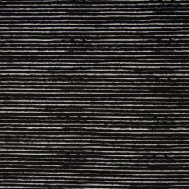 Stofkeuze zwart met strepen (tricot/jersey)
