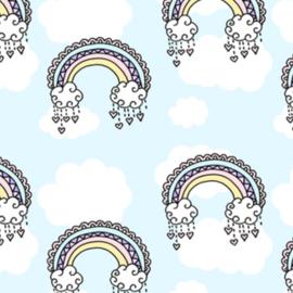 Stofkeuze regenboog lichtblauw