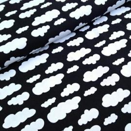 Stofkeuze (grote) wolkjes zwart wit