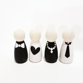 Houten popjes met afbeelding