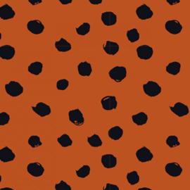 Stofkeuze stone/roestbruin met zwarte stippen (tricot)