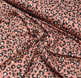Stofkeuze luipaard print rose (tricot)