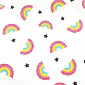 Stofkeuze wit met glitter regenboogjes