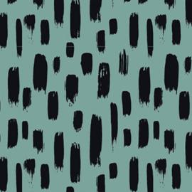 Stofkeuze mintgroen met zwarte strepen (tricot/jersey)