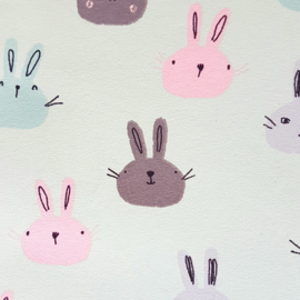 Stofkeuze konijntjes mintgroen/oudgroen (French Terry)