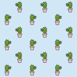 Stofkeuze Cactus lichtblauw (French Terry)