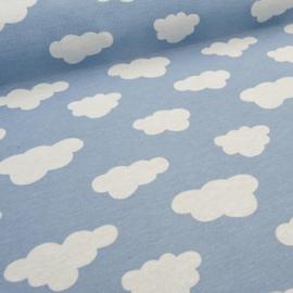 Stofkeuze (grote) wolkjes lichtblauw