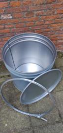 70 liter dekselvat grijs conische