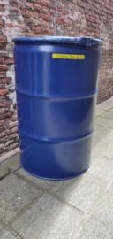 200 liter dekselvat blauw (gebruikt)