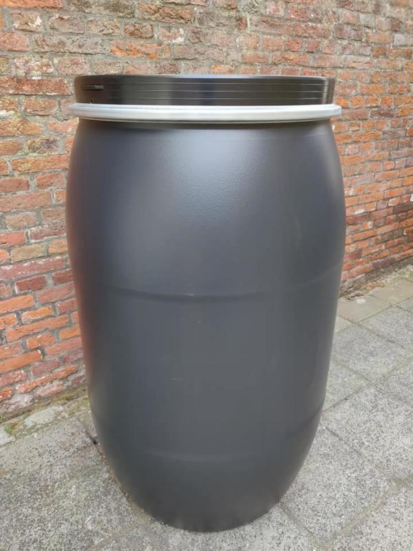 200 liter plastic vat nieuw (klemband) zwart