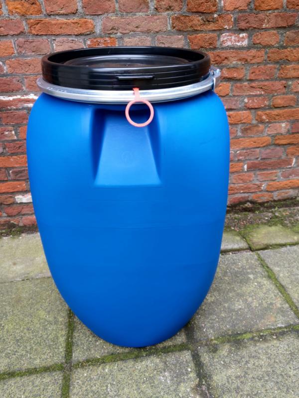 Plastic 60 liter plat model  blauw gebruikt