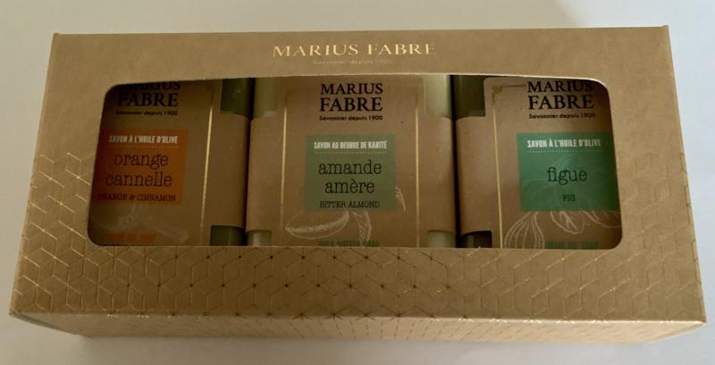 Cadeaudoos met 3 zepen sinaasappel-kaneel/amandel/figue