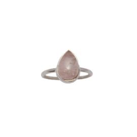 Oval rose quartz ring zilver
