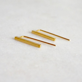 Parallel square oorbellen goud