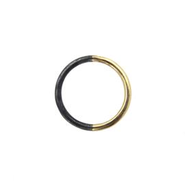Duo ring 14 karaat goud/geoxideerd zilver