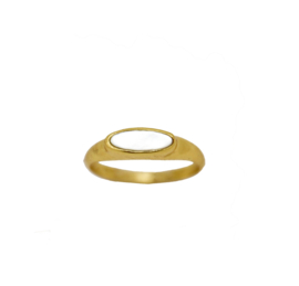 Tiny pearl signet ring goud