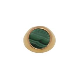 Signet malachite ring goud