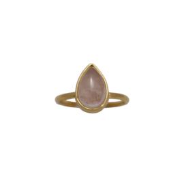 Oval rose quartz ring goud