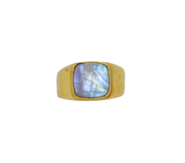 Moonstone signet ring goud