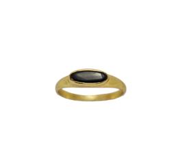 Tiny black onyx signet ring goud
