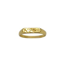 Vintage flower signet ring goud