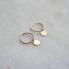 Coin hoop oorbellen goud