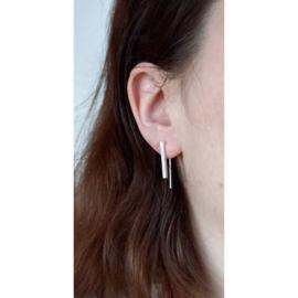 Parallel square oorbellen zilver