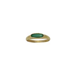 Tiny malachite signet ring goud
