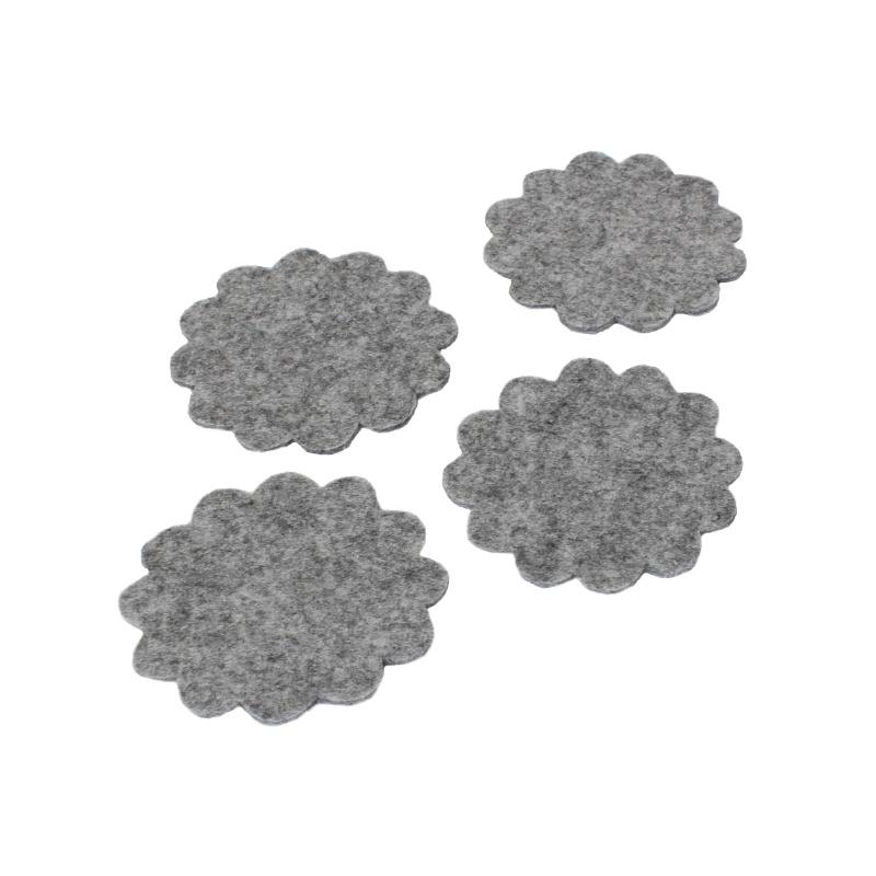 Room 21 Bloem onderzetters vilt grijs