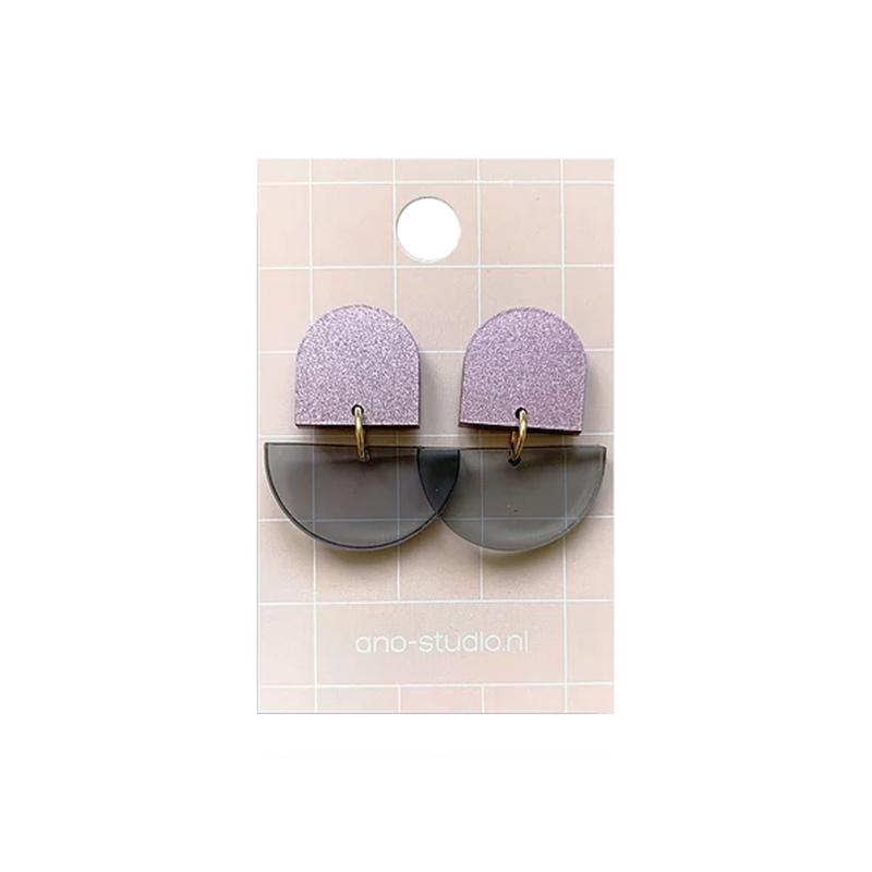 Oorbellen paars-grijs