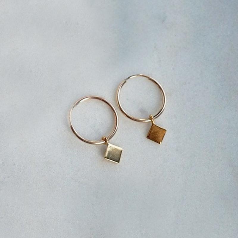 Diamond hoops oorbellen goud