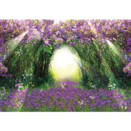 Fotobehang poster 0687 planten bloemen boog groen paars licht