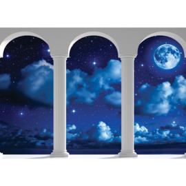 Fotobehang poster 2123 bogen uitzicht op wolken en maan