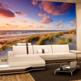 Fotobehang poster 0245 strand duinen zee zonsondergang