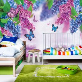 Fotobehang poster 0418 dieren vlinders blauw en roze