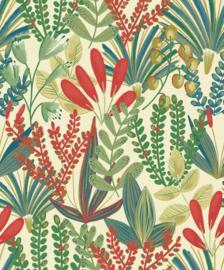Jungle Fever Dutch j3701 jungle bladeren rood groen blauw