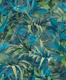 Jungle Fever Dutch jf2302 bladeren blauw groen tropisch