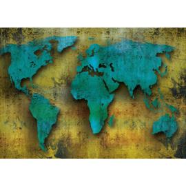 Fotobehang 1385 Landkaart wereldkaart blauw geel