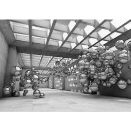 Fotobehang 3245 Kunst abstract architectuur ballonnen zilver zwart wit